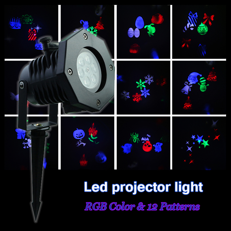 Tanbaby Led projector Spotlight 12 Patterns Christmas colorful stage light Waterproof for Outdoor Indoor Garden Landscape party