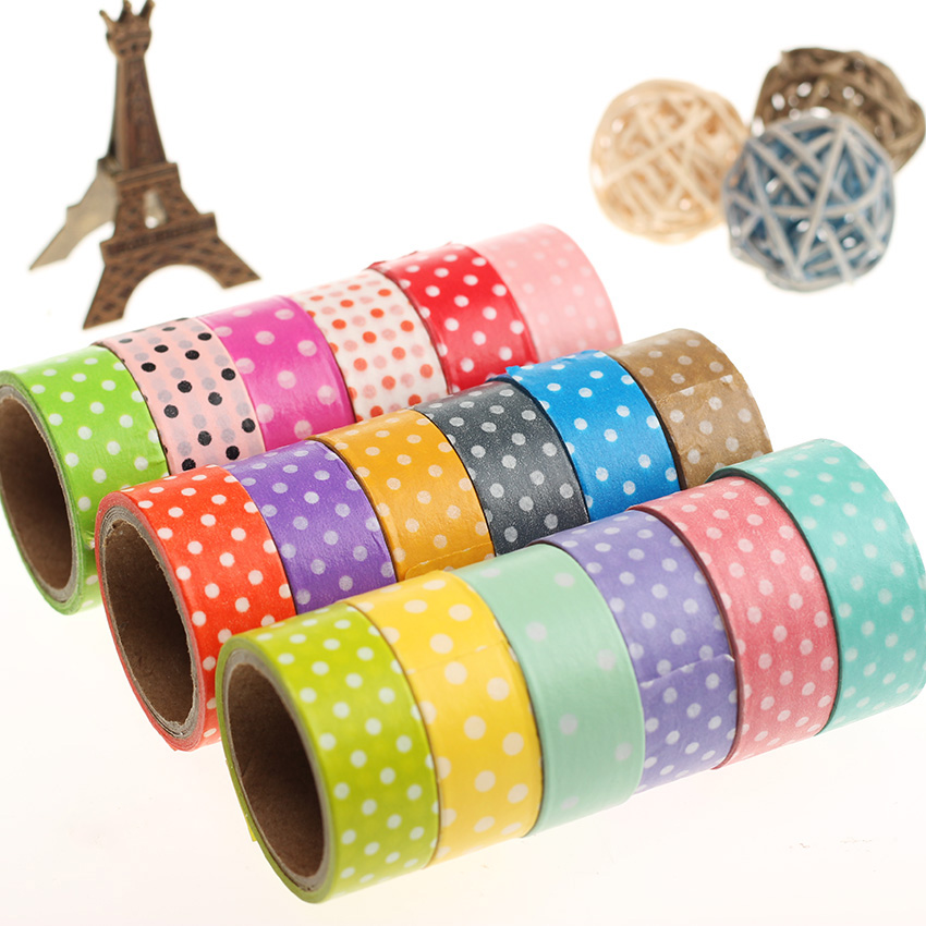 1pcs dots masking tape adhesive stationery decorative scotch sticker fita diy scrapbooking tools. Black Bedroom Furniture Sets. Home Design Ideas