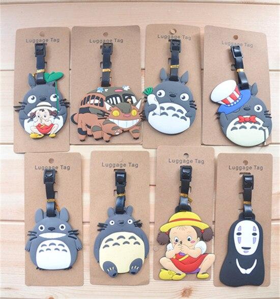 80 pcs/lot Miyazaki Hayao Anime figures luggage tag Totoro May Spirited Away ogino chihiro PVC bag pendants shipping by DHL