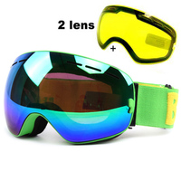 Anti fog Ski Goggles UV400 Ski Glasses Double Lens Skiing Snowboard Snow Goggles Ski Eyewear With One Brightening Lens for Men