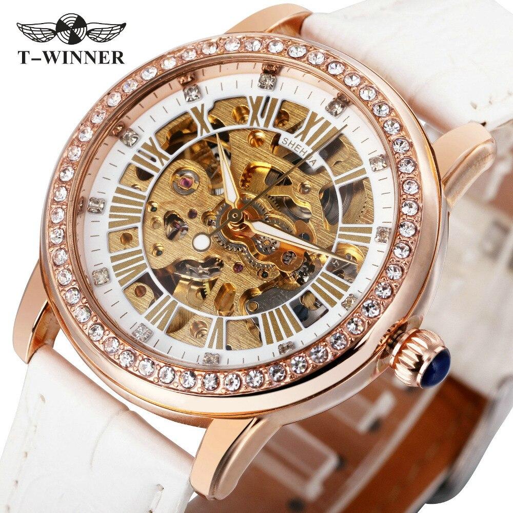 2017 SH Fashion Elegant Women Mechanical Wrist Watches Leather Watchband Female Automatic Clock Crystal Decoration Skeleton Dial  sh brandmens dial sh035