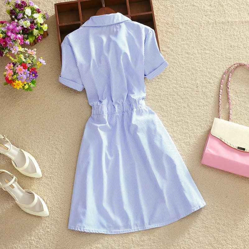 2019 элегантное офисное летнее платье рубашка элегантный синий полосатый хлопок отложной воротник одежда для работы рубашки женские платья # BD728
