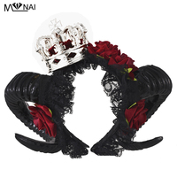 Cosplay Lolita Halloween Adult Devil horns Red Floral Headband Fancy Dress Crown Hairband Ladies Goth Headpieces Handmade