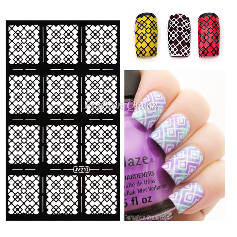 Aliexpress buy hot 1sheet nail vinyls irregular grid pattern aliexpress buy hot 1sheet nail vinyls irregular grid pattern stamping nail art tips manicure stencil nail hollow stickers guide from reliable nail prinsesfo Choice Image