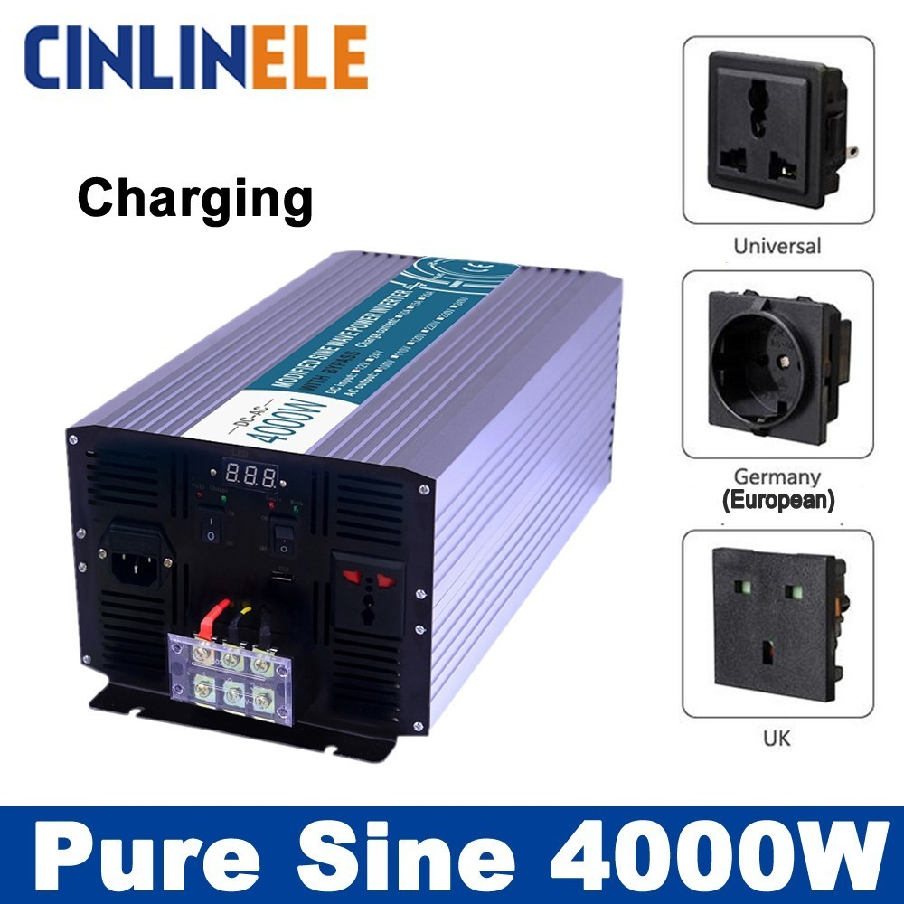 Smart Inverters Charging 4000W Pure Sine Wave Inverters CLP4000A DC 12V 24V 48V to AC 110V 220V 4000W Surge Power 8000W 50 60hz 48v dc sine wave inverters 6000w