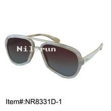 Fashion brand pilot style irregular big  horn frame sunglasses with gradient brown lenses