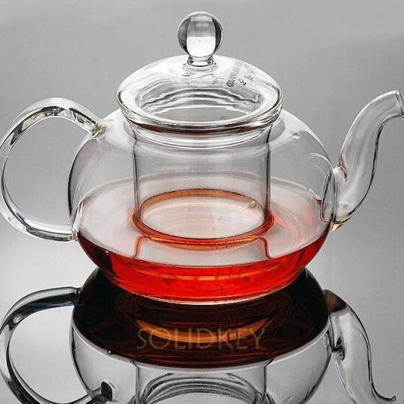 750ml Handmade  glass teapot transparent flower tea pot with infuser - Kitchen, Dining and Bar
