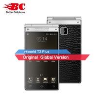 """Глобальный vkworld T2 Плюс Dual SIM fdd 3 ГБ + 32 ГБ android7.0 MT6737 4 ядра 4.2 """"IPS двойной Экран 13MP 2000 мАч оты флип смартфон"""