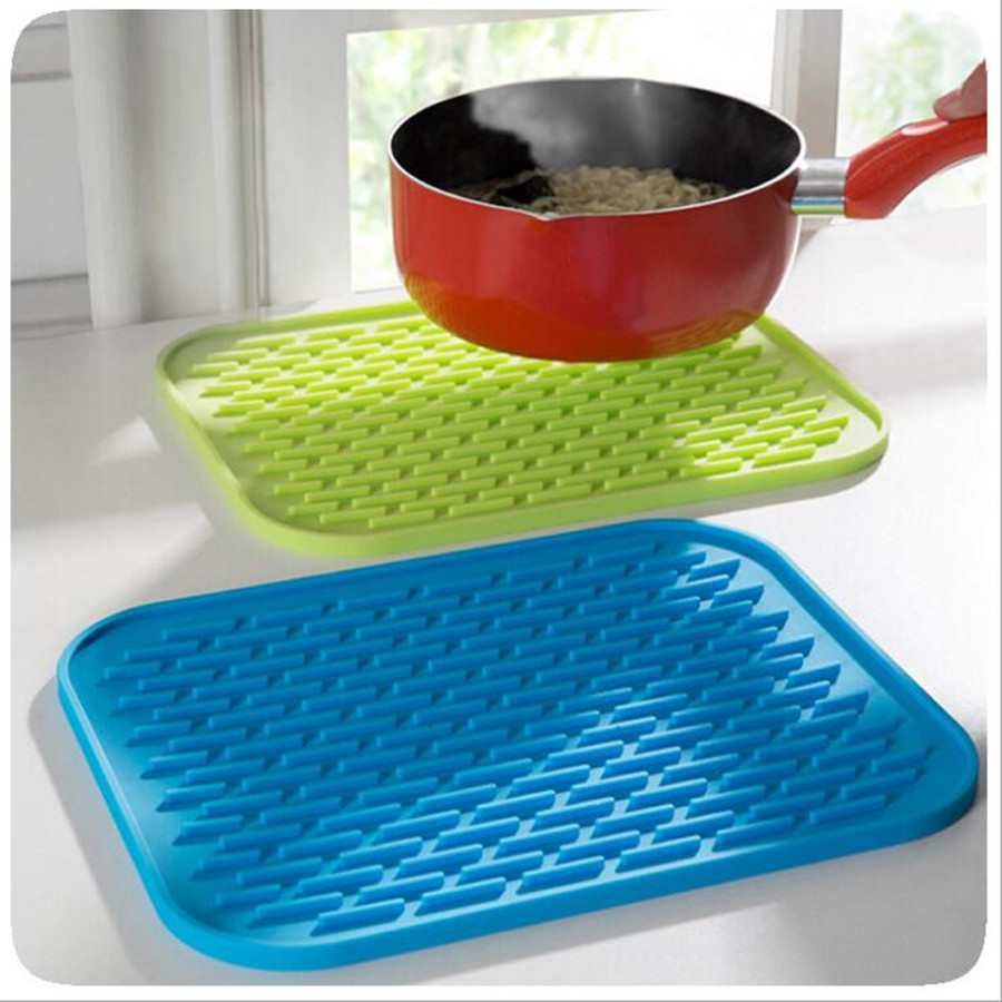 1Pc Rectangle Heat Resistant Mat Silicone Non slip Trivet Pot Pan ...