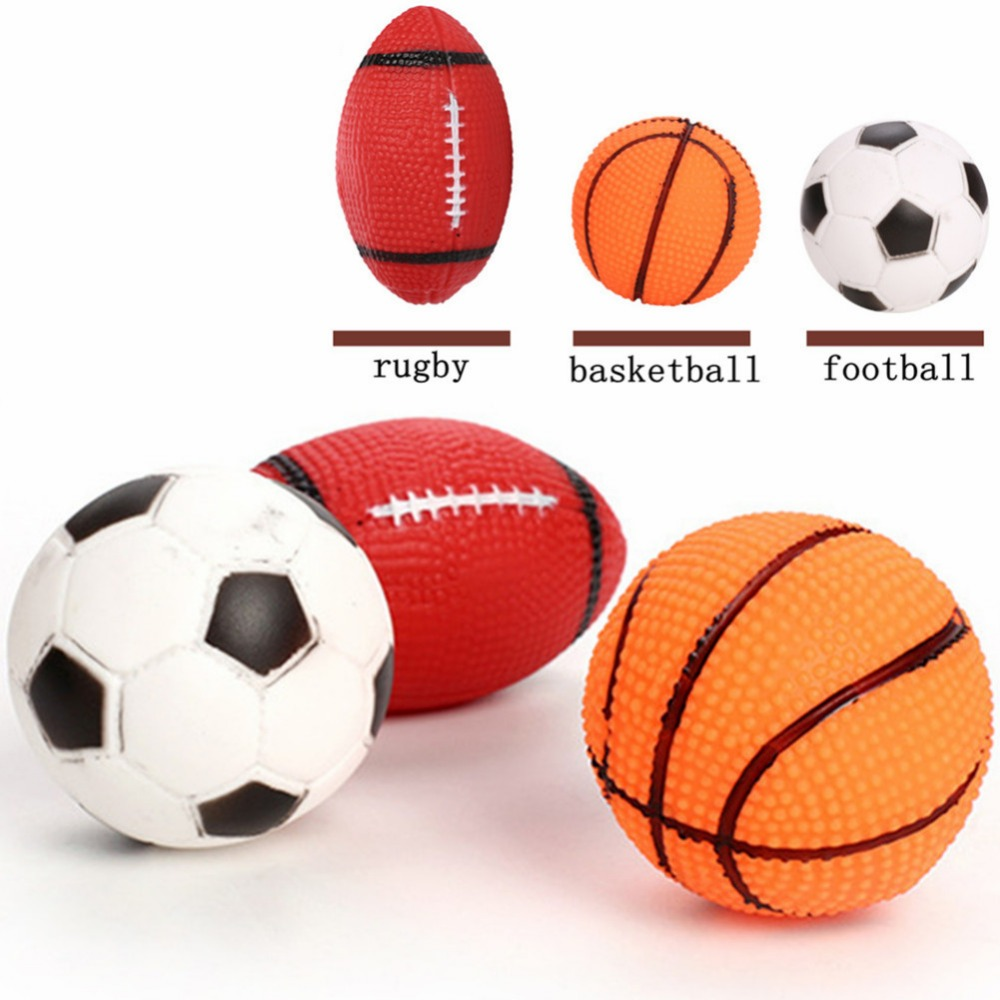 Dog Toys Squeak Sound Dog Ball Rubber Rubgby Football Basketball Interactive Toys For Dogs Small Medium Large Pets Toy Supplies