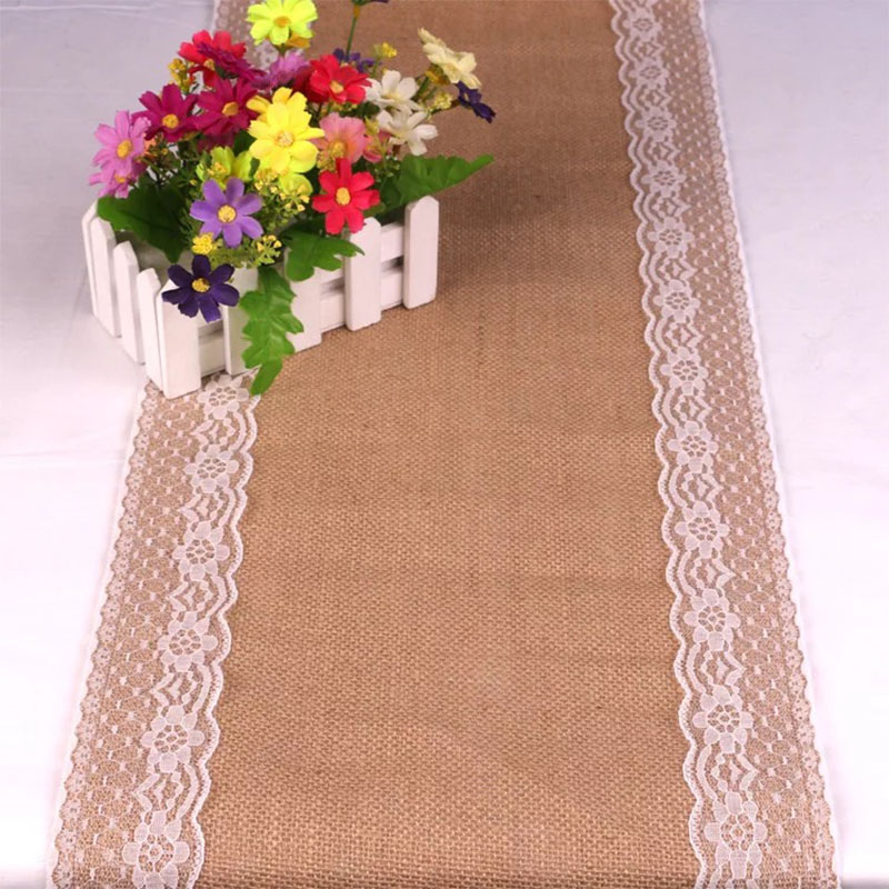 BALLE Burlap Vintage Lace Table Runner Rustic Jute Shabby Linen Table Runner For Wedding Party Festival Event Decorations