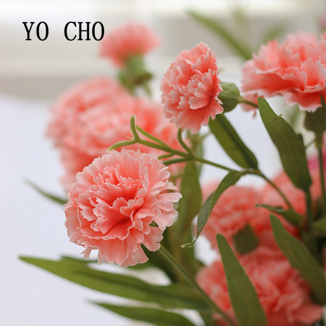 Yo Cho Large Artificial Plant Fake Flower Shrubs Silk Carnation Flowers Bouquet Simulation Greenery Indoor Outside