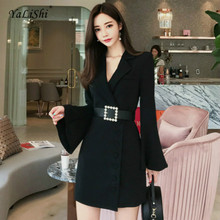 Women Plus Size Straight Dress Autumn Black Full Flare Sleeve Notched Suit Office Tunic Dress White Mini Ladies Dresses Vestido plus size flare sleeve handkerchief tunic top