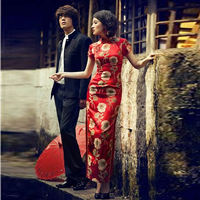 Red Satin Sexy Long Cheongsam Dress Modern Qipao Dresses Casual Women Qi Pao Chinese Traditional Dress