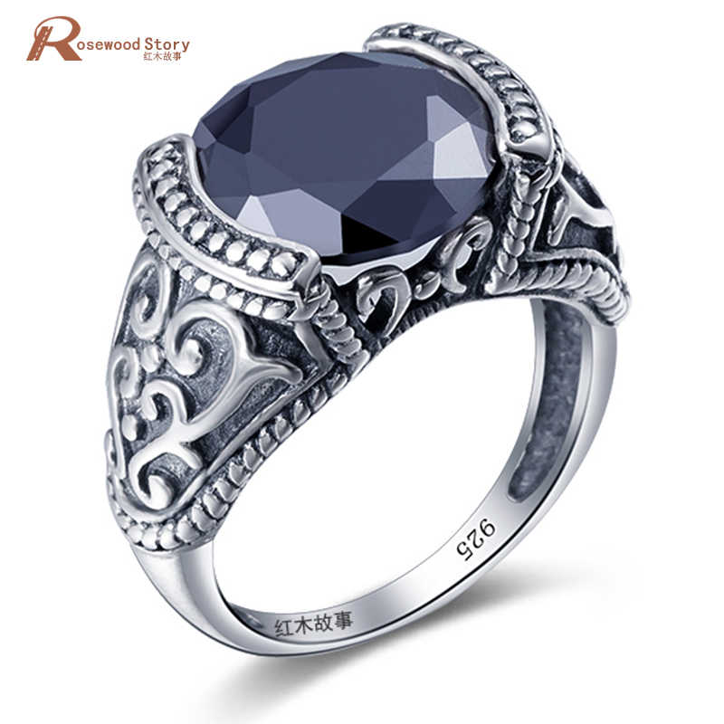Turkish Jewelry 925 Sterling Silver Cocktail Rings Unique Design Black Cubic Zirconia Ring Women Wedding Bijoux Cute/Romant