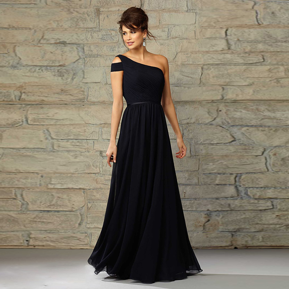Hot Sale Black Short Sleeve Bridesmaid Dresses Long