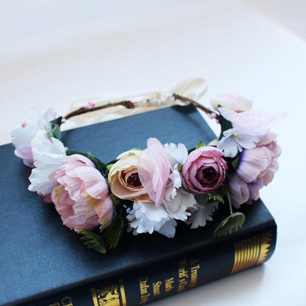 Women Girl Rose Flower Crown Wreath Wedding Bridal Artificial Flower Headband Tiara Hair Floral Hair band Hair accessories