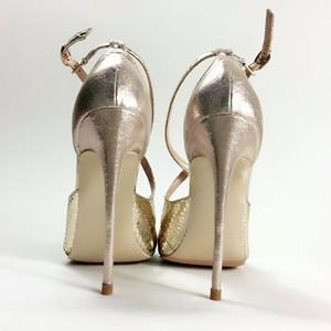 Image 5 - Keshangjia Fashion nuovo arriva pompe delle donne di modo croce fibbia scarpe a punta super high partito delle signore scarpe grandi dimensioni 35 44