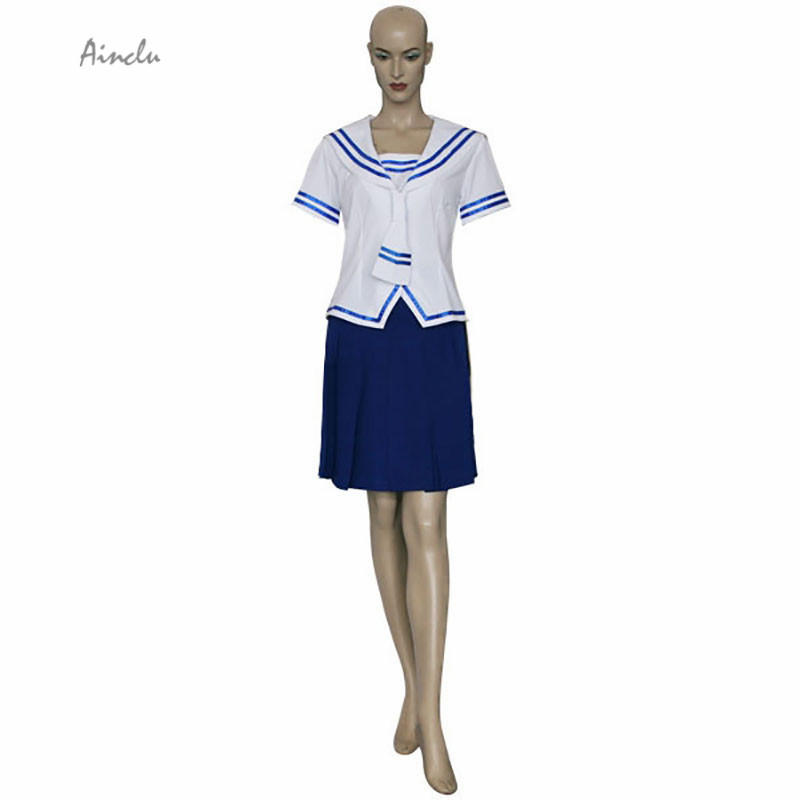 Ainclu Free Shipping New Fruits Basket Tohru Honda White Top Blue Skirt Manga Cosplay Brand Costumes