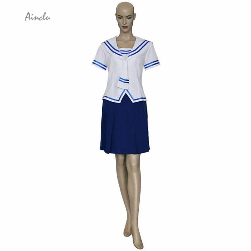 Ainclu Free Shipping New Fruits Basket Tohru Honda White Top Blue Skirt Manga Cosplay Brand Costumes