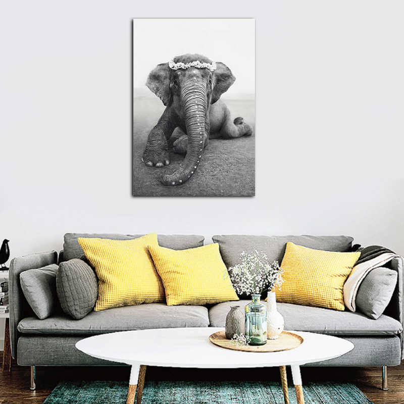 Nordic Style Black White State Protects Elephants Painting Wall Art Canvas Prints Home Decor Modular Pictures Animal Poster
