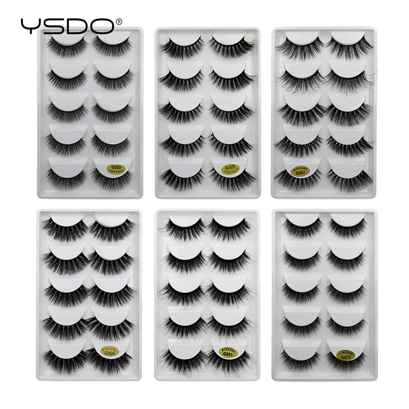 YSDO 5 Pairs Mink Eyelashes Natural Long Makeup 3d Mink Lashes False Eyelashes 3d Soft Fluffy Lashes Cilios Mink Volume Lashes