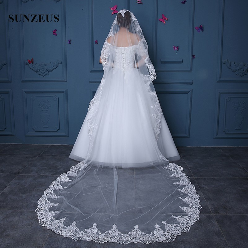 Wedding Accessories Long Chapel Veils One Layer Lace Edge Ivory Bridal Vail 3m Adult Wedding Bride Veils Acesorios De Boda Para El Vestido Wv077 To Win A High Admiration And Is Widely Trusted At Home And Abroad. Bridal Veils