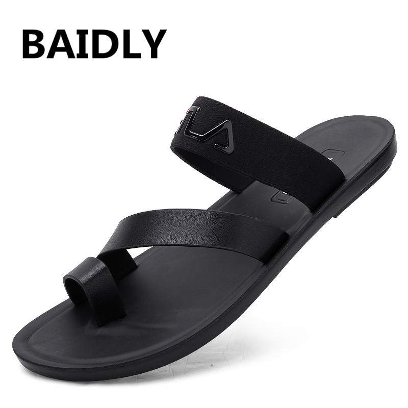 Leather Sandals Men Casual Open Toe Summer Shoes Breathable Fisherman Style Casual Beach Sandals Business Men's Sandals Footwear(China)