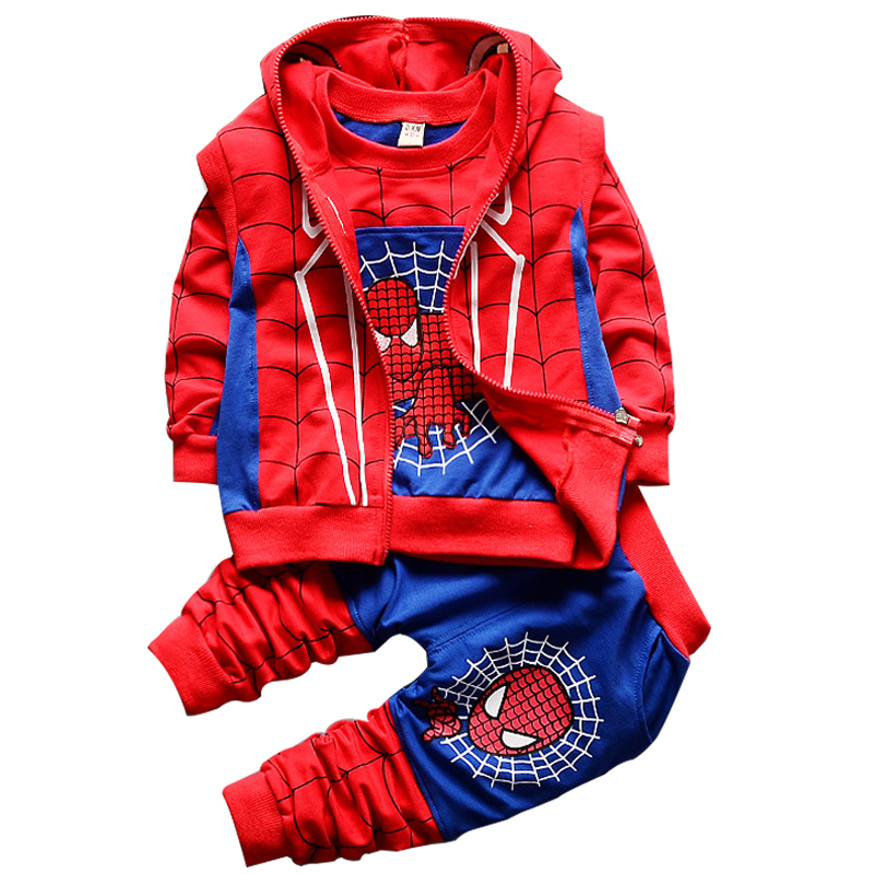 Toddler Boys Cosplay Spiderman Sets Cartoon T-shirt Vest Sports Pants Children's 3pcs Baby Boy Hooded Zipper Kids Clothing Suits 3pcs baby boy clothing suits solid white shirt vest striped pants casual children party costumes kids spring autumn sets 088f