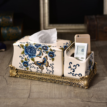 Wholesale American country creative paper towel box high-grade living room Home Furnishing pumping with ceramic ornaments contai