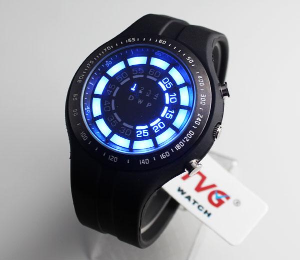 TVG Rubber Blue Binary LED Watch Mens Diving Sport Clock 30M Waterproof Watch