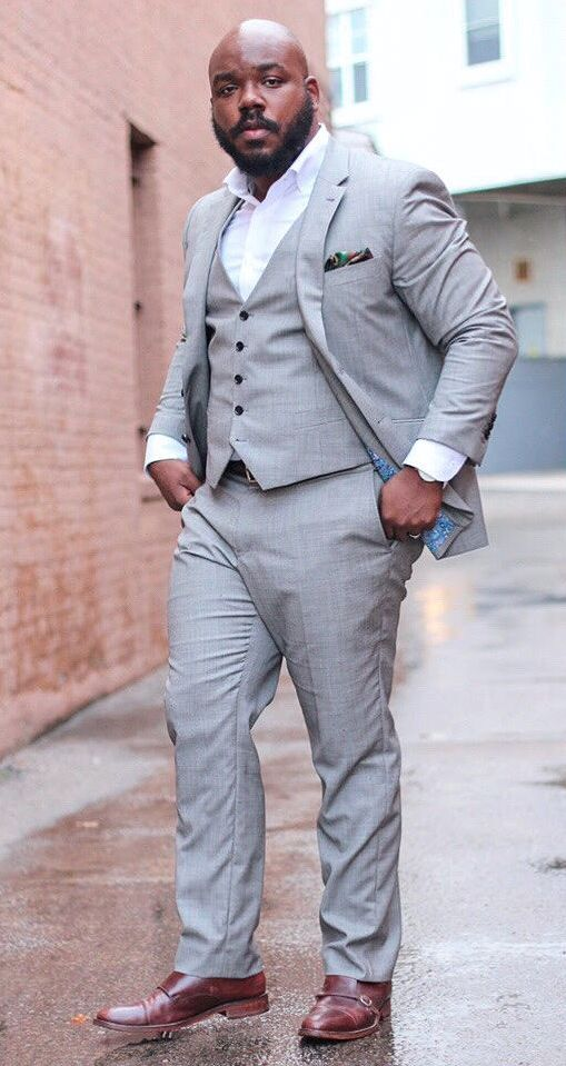 c89814d9be1 Tailor Made Gray Men Suits Plus Size Loose Groom Prom Blazer ...