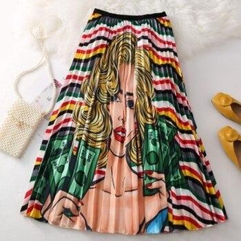 2019 Summer Women Long Pleated Skirt Plus Size Cartoon Print White Black Pleated Skirt Elastic Casual High Waist Skirt 2