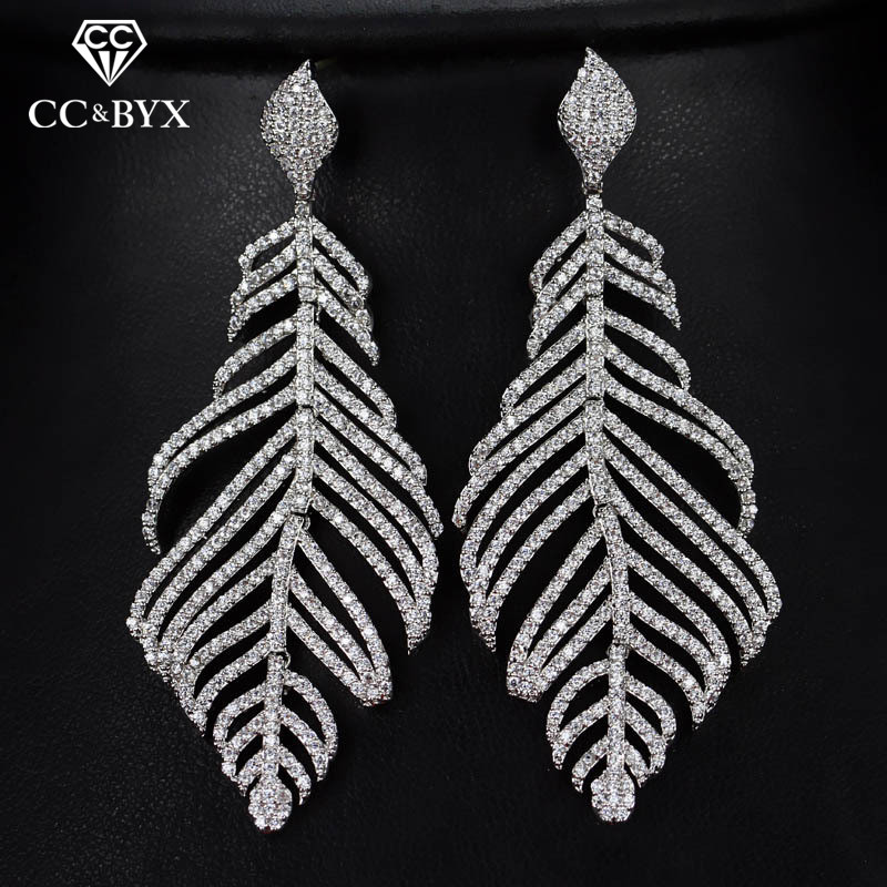 CC earrings for women luxury pageant special design high quality leaf shape crystal wedding accessories bride jewelry gift E0102