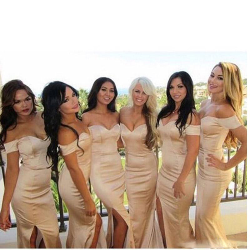 Sexy Champagne Mermaid Long   Bridesmaid     Dresses   Off the Shoulder With Train Women Formal Wedding Party   Bridesmaid   Gowns Country