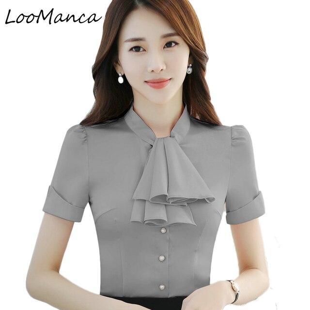 563dafe90b Ropa elegante corbata camisa de las mujeres OL estilo verano primavera  negocios formal manga corta blusas