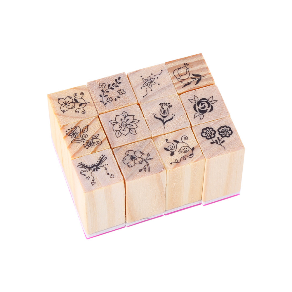 How to scrapbook good - Hot Vintage Flower Lace Pattern Square Wooden Rubber Stamp 12pcs Bag Letters Diary Diy Craft