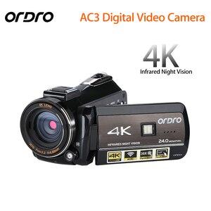 Ordro atualizado ac3 4 k sapata wifi câmera digital hdmi 24mp infravermelho de visão noturna gravação vídeo filmadora 3