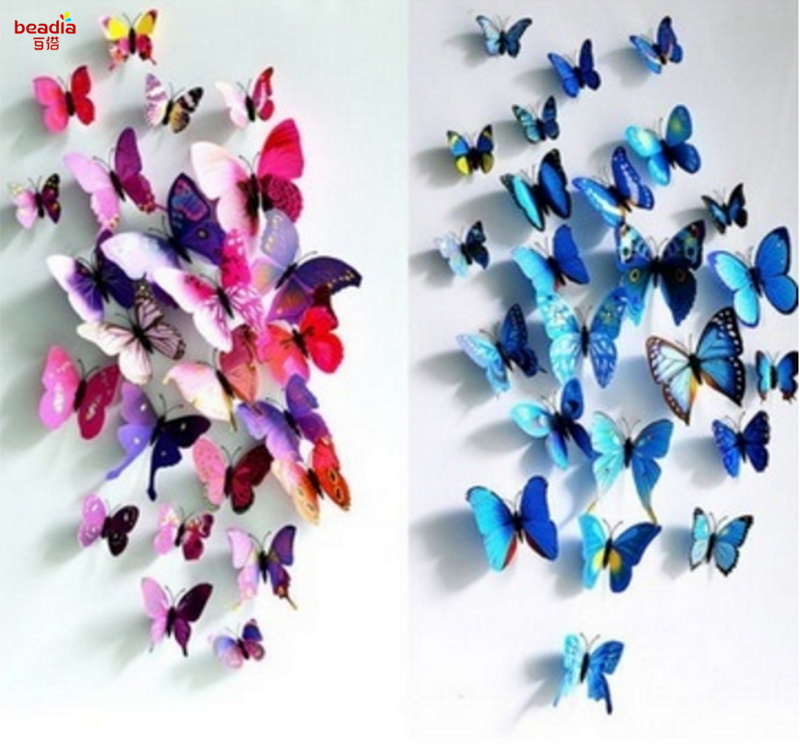 12Pcs PVC Removable Butterfly Decals 3D Wall Stickers Home Decor Poster for Kids Rooms A ...