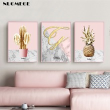 Golden Marble Pink Pineapple Poster Canvas Print Cactus Wall Art Painting Picture for Living Room Nordic Home Decoration