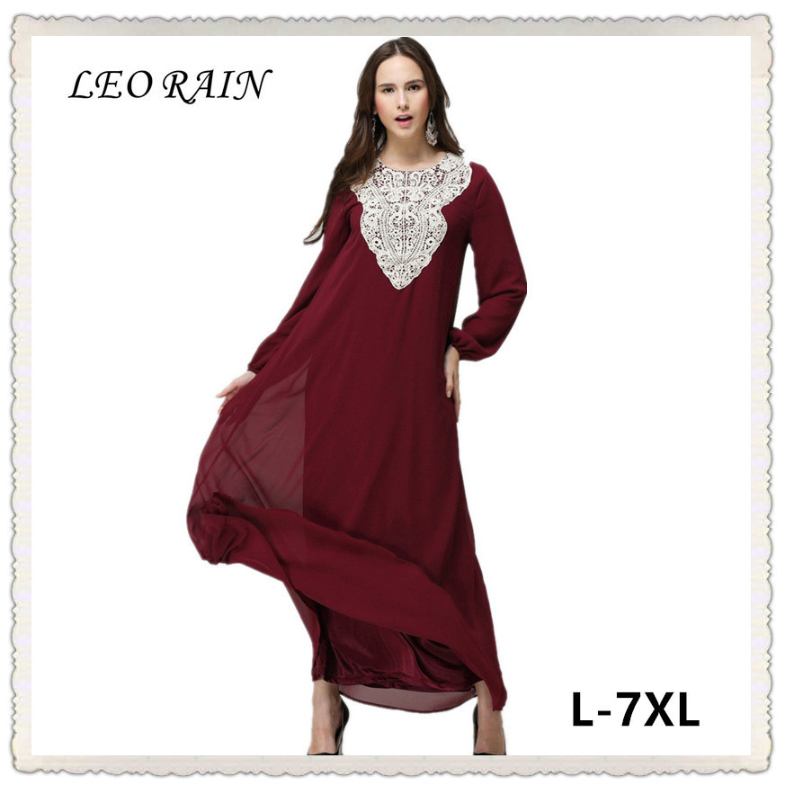 Muslim Large Size Long Sleeve Chiffon Fall Indian -7299