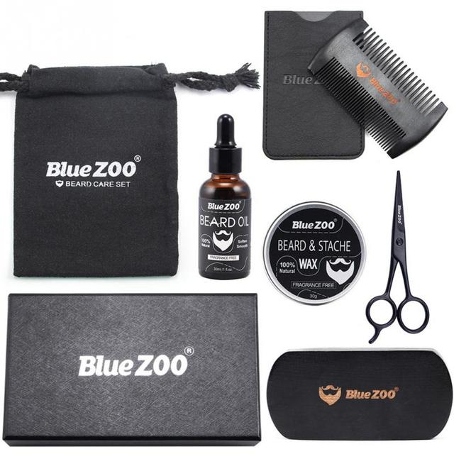 7pcs/set Men Beard Grooming Kits Beard Oil Mustache Moisturizing Wax Mustache Balm Beard Oil Essence Styling Comb Beard Care Set 1