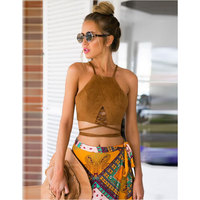 2016 New Fashion Women Sexy Lady Halter Strap Off Shoulder Backless Bandage Solid Camisole Vest Crop