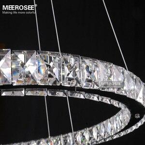 Image 4 - Cristal suspendu composé de 4 anneaux lumineux, en acier inoxydable, luminaire décoratif décoratif de plafond, composé de 4 anneaux lumineux, luminaire de plafond, idéal pour un salon ou une salle à manger, pendentif led