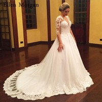Plus Size Long Sleeves Ball Gowns Wedding Dresses 2018 Sexy V Neck Lace Appliques Beaded Tulle Vestido De Noiva Bridal Gowns