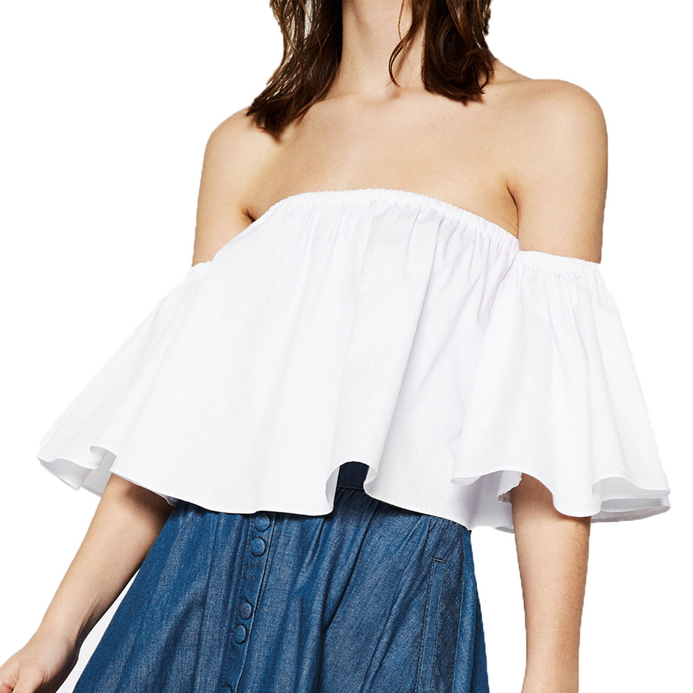 4b31370a1b28e Feitong 2019 Summer Women Blouse Smock Tops Off Shoulder Cute Brief Ruffles  PETITE Structured Bardot Tops Short Blusas Feminino-in Blouses   Shirts  from ...