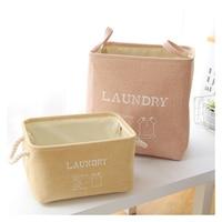 Cotton Linen Laundry Clothes Storage Basket Waterproof Folding Portable Storage Box Sundries Bag Home Decor Space Organizer Gift