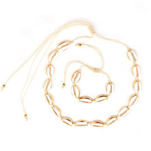 New Fashion Natural Shell Gold Metal Chain Necklace Bracelet Rope Exquisite Bohemian Jewelry Sets