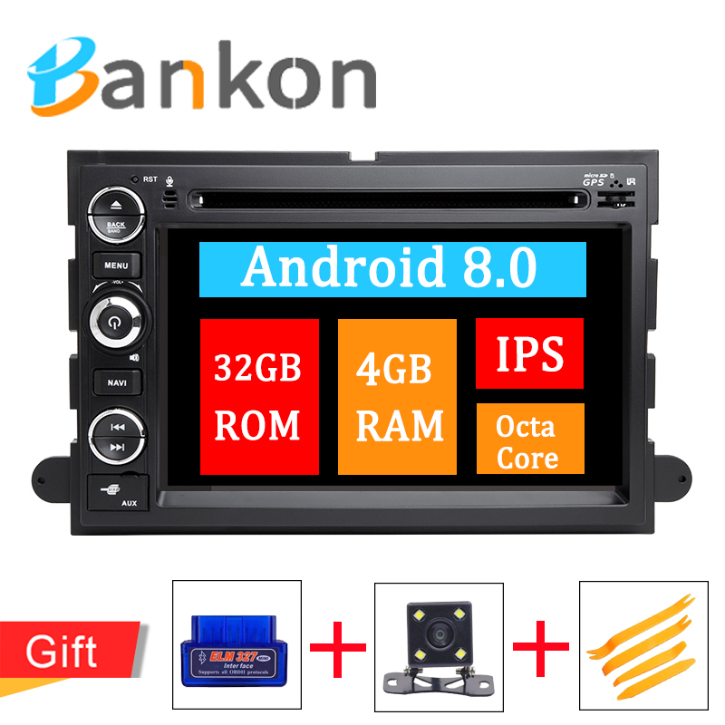 2 Din Android 8.0 Car Audio Multimedia Player GPS Navigation For Ford F150 F250 Fusion Mustang Edge Explorer Expedition Wifi DAB