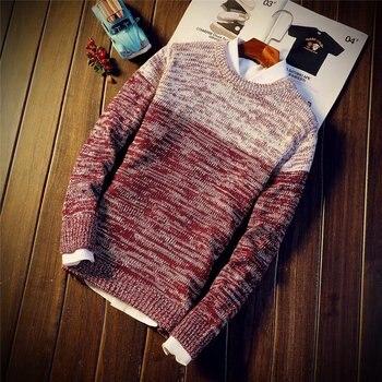 LEWY ROM 2018 moda męska slim fit Okrągły kołnierz Pisowni kolor sweter z dzianiny/rozrywka mężczyzna Czystej bawełny wygodne swetry